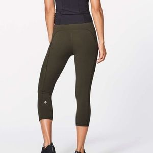 lululemon run on crop dark olive green
